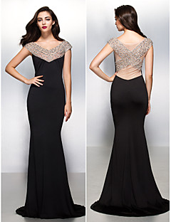 TS Couture Formal Evening Dress - Black Trumpet/Mermaid V-neck Sweep/Brush Train Jersey