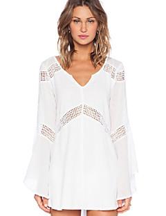 Damen Bluse  -  Ausgehöhlt Baumwolle Langarm V-Ausschnitt
