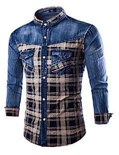 Men's Plaids & Checks Long Sleeve Top , Cotton / Denim Casual