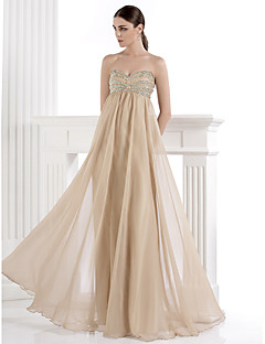 A-Line Sweetheart Floor Length Spandex Chiffon Formal Evening Dress with Beading Crystal Detailing