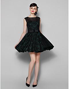 동창회 칵테일 파티 드레스 - 검은 줄 보석 짧은 / 미니 레이스 / 얇은 명주 그물