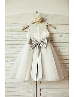 Flower Girl Dress A-line Knee-length - Chiffon / Tulle Sleeveless Scoop