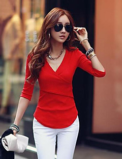 Damen Solide Einfach / Street Schick Lässig/Alltäglich T-shirt,V-Ausschnitt Herbst Langarm Rot / Weiß / Schwarz Andere Dick
