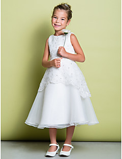 Lanting Bride ® A-line Tea-length Flower Girl Dress - Lace / Organza Sleeveless Scoop with Beading / Lace