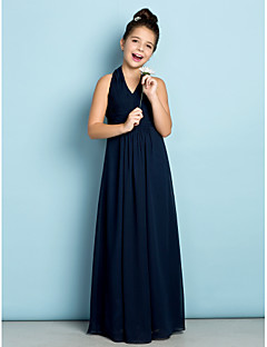 Lanting Bride® Floor-length Chiffon Junior Bridesmaid Dress - Mini Me A-line Halter with Draping / Criss Cross