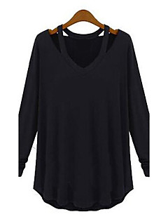 Women's Casual/Daily Simple Fall Blouse,Solid V Neck Long Sleeve White / Black / Gray Medium