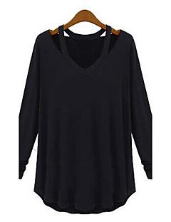 Blusa Da donna Casual Semplice Autunno,Tinta unita A V Bianco / Nero / Grigio Manica lunga Medio spessore