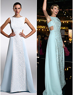Formal Evening Dress - Sky Blue Plus Sizes / Petite Sheath/Column Bateau Floor-length Chiffon / Lace