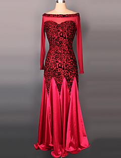 Shall We Ballroom Dance Dresses Women Performance Velvet Draped 1 Piece Long Sleeve Dress 125