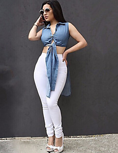 Women's Solid Blue Denim Slit Hin Thin Top , Sexy / Casual