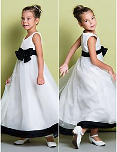 noiva Lanting ® uma linha de vestido de flores até os tornozelos menina - sem mangas organza colher com arco (s)