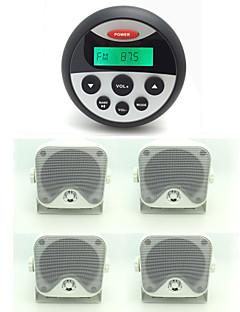 עמיד למים ימי מקלט שמע UTV טרקטורונים סטריאו הרדיו + 2 זוגות רמקולי תיבה הימית עמיד למים כבדים חיצוני 3.5 אינץ '