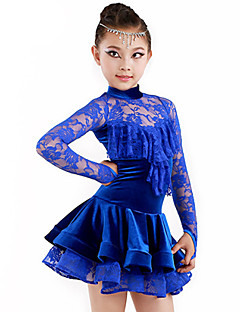 Latin Dance Outfits Children's Performance Spandex / Polyester Draped 2 Pieces Royal Blue Latin Dance / Samba Spring, Fall, Winter, Summer