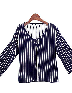 Women's Striped Blue / Red / Black Sweaters , Casual Round Long Sleeve