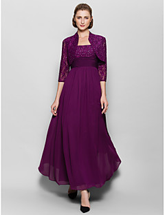 Lanting A-line Mother of the Bride Dress - Grape Ankle-length 3/4 Length Sleeve Chiffon / Lace