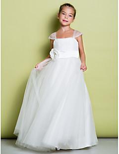 noiva Lanting ® uma linha de vestido de flores até o chão menina - tiras de tule sem mangas e com drapeados / flor (s)