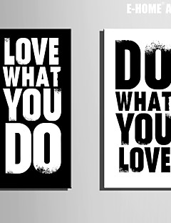E-HOME® Stretched Canvas Art Letter Decorative Painting Set of 2