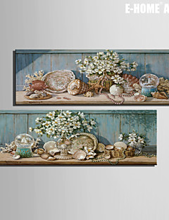 E-HOME® Stretched Canvas Art Flowers And Shell Decorations Decorative Painting Set of 2
