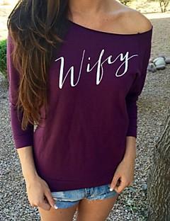 Mulheres Camiseta Casual Simples Todas as Estações,Estampado Rosa / Preto / Cinza / Roxo Decote Canoa Manga Longa Média