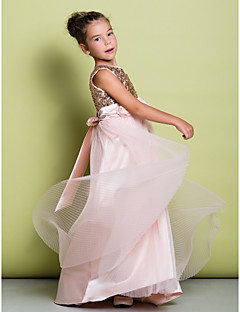 Lanting Bride ® A-line Sweep / Brush Train Flower Girl Dress - Tulle / Sequined Sleeveless Scoop with Flower(s) / Sequins