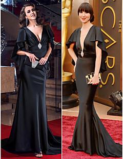 Fiesta formal Vestido - Negro Corte Sirena Barrer / cepillo tren - Escote en V Satén Elástico