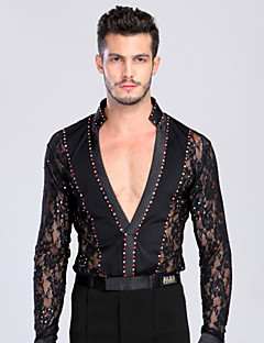Latin Dance Tops Men's Training / Performance Chinlon / Lace Crystals/Rhinestones / Lace 1 Piece Black / White Latin Dance Long Sleeve Top