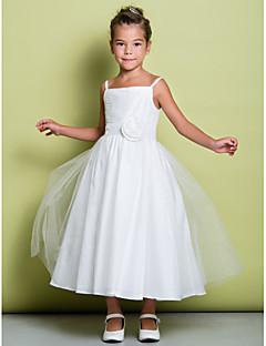 Lanting Bride A-line Tea-length Flower Girl Dress - Tulle Sleeveless Spaghetti Straps with Flower(s) / Ruching