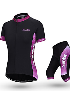 SANTIC® Camisa com Shorts para Ciclismo Mulheres Manga Curta Moto Respirável Camisa + Calças / Conjuntos de Roupas/Ternos Poliéster