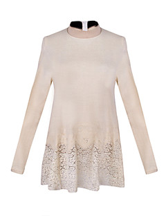 Women's Patchwork / Lace Black / Beige / Gray Tops & Blouses , Casual Stand Long Sleeve
