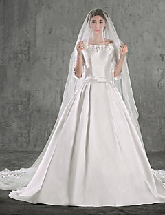 웨딩 드레스 - 아이보리(색상은 모니터에 따라 다를 수 있음) 볼 가운 채플 트레인 스쿱 태피터 / 스트래치 새틴