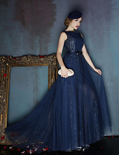 Dress - Dark Navy/Silver A-line Scoop Sweep/Brush Train Satin/Tulle