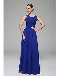 바닥 길이 스쿱 신부 들러리 드레스 - 우아한 민소매 쉬폰
