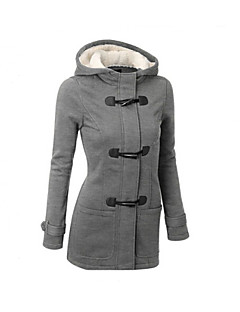 Women's Solid Black / Brown / Gray Parka Coat Hooded Long Sleeve