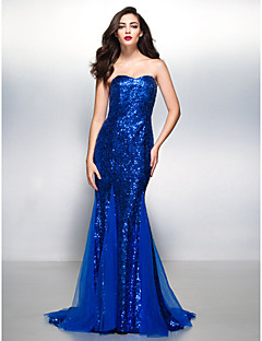 TS Couture Formal Evening Dress - Royal Blue Trumpet/Mermaid Sweetheart Court Train Sequined