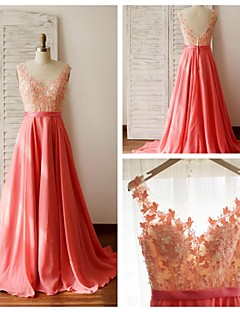 Formal Evening Dress - Multi-color A-line Scoop Court Train Chiffon / Lace