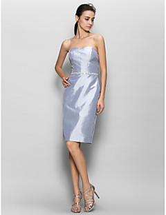 LAN TING BRIDE באורך  הברך סטרפלס שמלה לשושבינה - סקסי ללא שרוולים טפטה