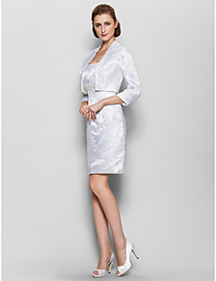 Sheath / Column Mother of the Bride Dress Knee-length 3/4 Length Sleeve Satin with Pattern / Print