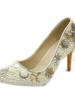 Women's Shoes Leatherette Stiletto Heel Heels Crystals Pumps/Heels Wedding/Party & Evening/Dress White/Champagne