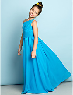 Lanting Bride® Floor-length Chiffon Junior Bridesmaid Dress - Mini Me A-line One Shoulder with Crystal Detailing / Side Draping