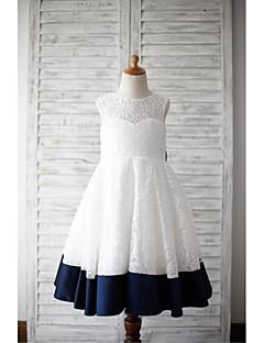 Φόρεμα για Κοριτσάκι Λουλουδιών Γραμμή Α Μέχρι τα Μέσα της Κνήμης - Δαντέλα / Σατέν Αμάνικο