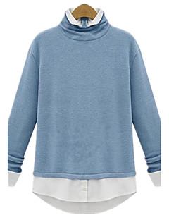 Mulheres Blusa Casual Simples Primavera,Sólido / Patchwork Azul / Cinza Gola Alta Manga Longa Média
