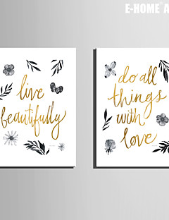 E-HOME® Stretched Canvas Art Simple Pictures And Letters Decoration Painting  Set of 2