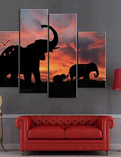 Натянутым холстом печати Слоны искусства животными Набор из 4