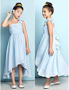 Asymmetrisch Doek Junior bruidsmeisjesjurk - Hemelsblauw A-Lijn Een schouder