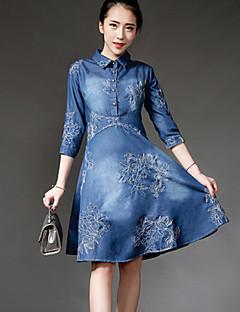 Women's Solid Blue Denim Dress , Casual / Plus Sizes