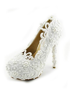 Women's Shoes Leatherette Stiletto Heel Heels Pearl Pumps/Heels Wedding/Party & Evening/Dress White
