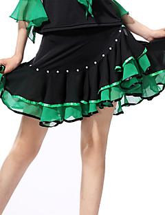Dança Latina Vestidos e Saias Mulheres Actuação Elastano Poliéster Frufru 1 Peça Saia