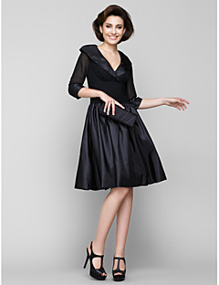 Lanting A-line Mother of the Bride Dress - Black Knee-length Half Sleeve Chiffon / Taffeta