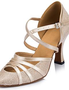 Na zakázku - Dámské - Taneční boty - Latina - Třpitivé flitry - Jehlový podpatek - Černá / Slonová kost / Stříbrná
