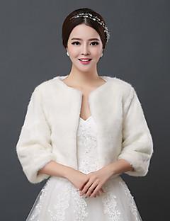 Wedding  Wraps Shrugs 3/4-Length Sleeve Faux Fur Ivory Wedding 34cm Open Front